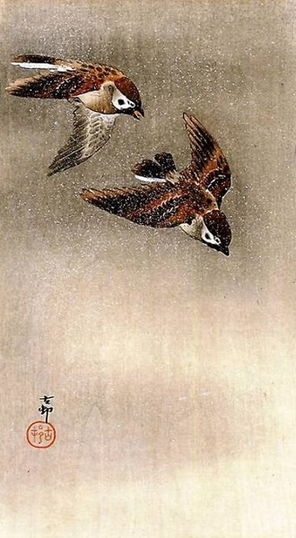 Ohara Koson, Two Sparrows in Flight