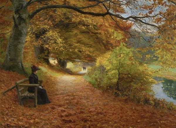 Hans Andersen Brendekilde, A Wooded Path in the Autumn