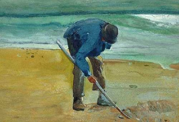 A Man Digging on the Shore